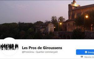Visuel Facebook de l'association des Professionnels de Giroussens dont je suis la secrétaire