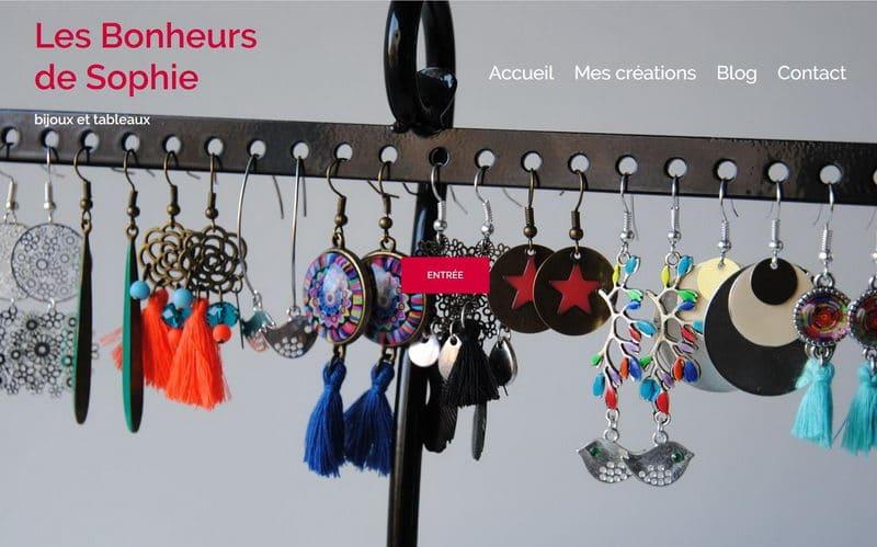 Capture d'écran du site de mon site Les Bonheurs de Sophie