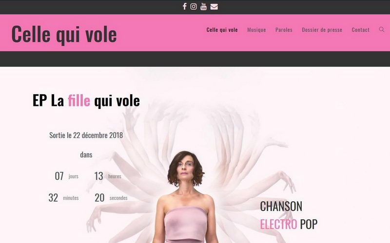Capture d'écran du site de Celle qui vole, groupe électro pop français