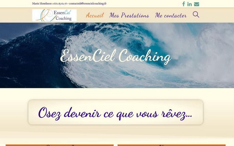 Capture d'écran du site d'EssenCiel Coaching