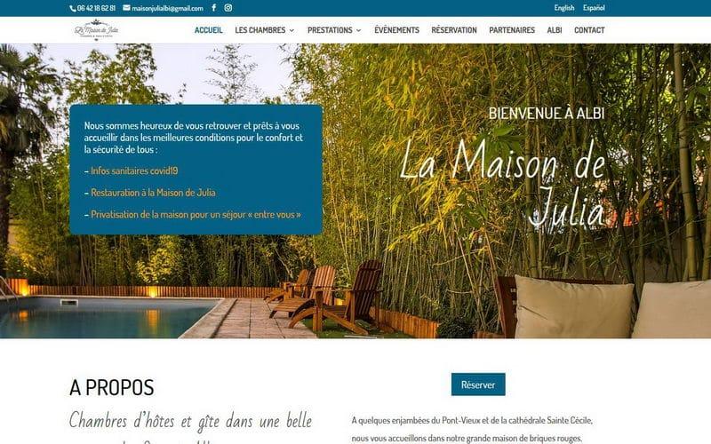 Capture d'écran du site de la Maison de Julia à Albi