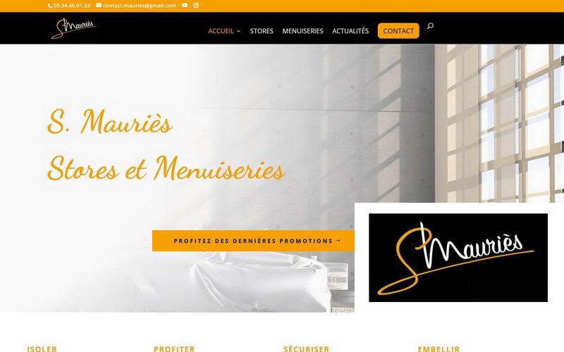 Capture d'écran du site de Stéphane Mauriès, stores et menuiseries
