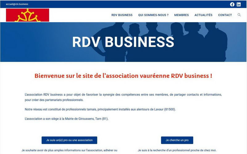 Capture d'écran du site de RDV Business à Lavaur