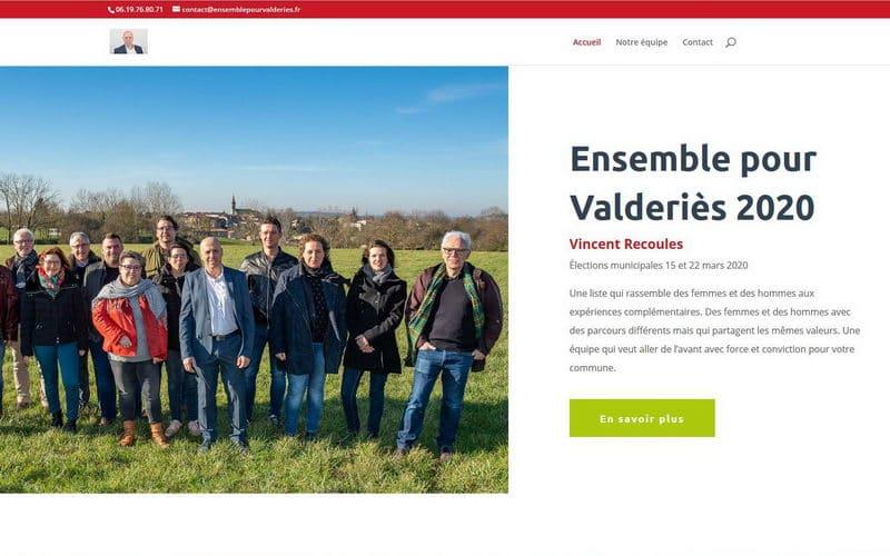 Capture d'écran du site de Vincent Recoules, maire de Valderiès